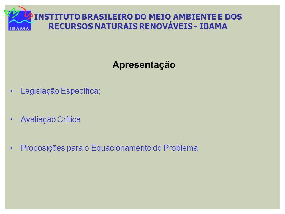 Legislação Específica; Avaliação Crítica Proposições para o Equacionamento do Problema Apresentação INSTITUTO BRASILEIRO DO MEIO AMBIENTE E DOS RECURS