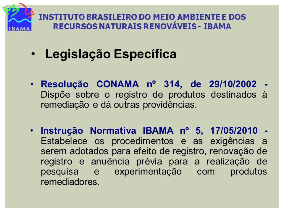 Resolução CONAMA nº 314, de 29/10/2002 - Dispõe sobre o registro de produtos destinados à remediação e dá outras providências. Instrução Normativa IBA