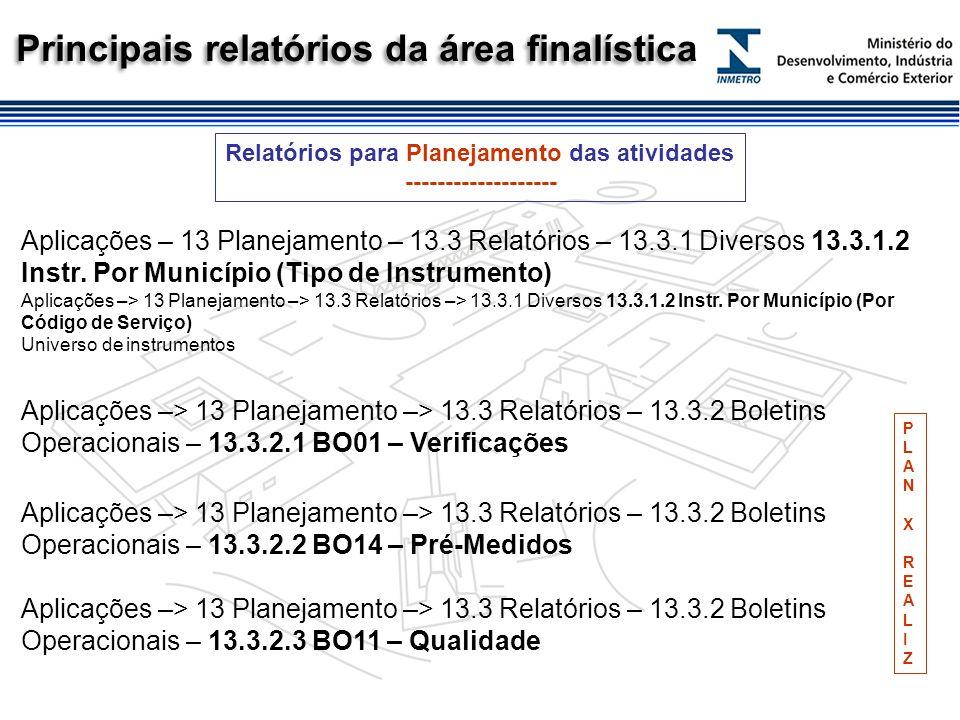 Principais relatórios da área finalística Aplicações – 13 Planejamento – 13.3 Relatórios – 13.3.1 Diversos 13.3.1.2 Instr.