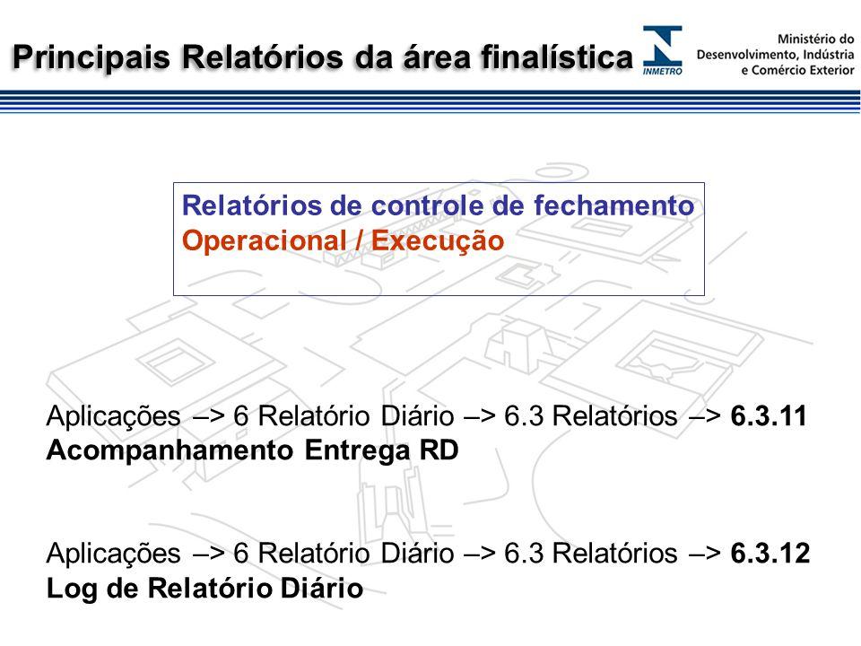Principais relatórios da área finalística Aplicações –> 6 Relatório Diário –> 6.3 Relatórios –> 6.3.2 Produção/Arrecadado Diário (3.3.19 Produção por Tipo de Serviço / Receita por Município ou Regional) MDA/RME Aplicações –> 3 Verificação –> 3.1 Cadastros –> 3.1.2 Emissão da Escala Aplicações –> 4 Pré-Medidos –> 4.3 Relatórios –> 4.3.1 Mercadoria Acondicionada Aplicações –> 5 Qualidade –> 5.3 Relatórios –> 5.3.6 Acompanhamento da Produção Relatórios de acompanhamento da atividade Tático-Gerencial / Controle