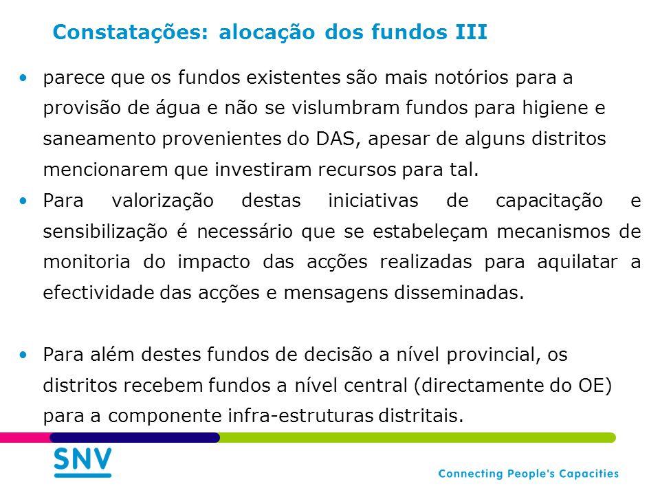 Constatações: alocação dos fundos III parece que os fundos existentes são mais notórios para a provisão de água e não se vislumbram fundos para higiene e saneamento provenientes do DAS, apesar de alguns distritos mencionarem que investiram recursos para tal.