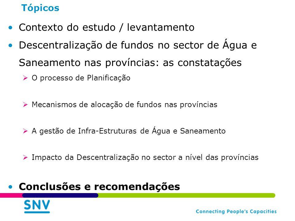 Tópicos Contexto do estudo / levantamento Descentralização de fundos no sector de Água e Saneamento nas províncias: as constatações O processo de Planificação Mecanismos de alocação de fundos nas províncias A gestão de Infra-Estruturas de Água e Saneamento Impacto da Descentralização no sector a nível das províncias Conclusões e recomendações