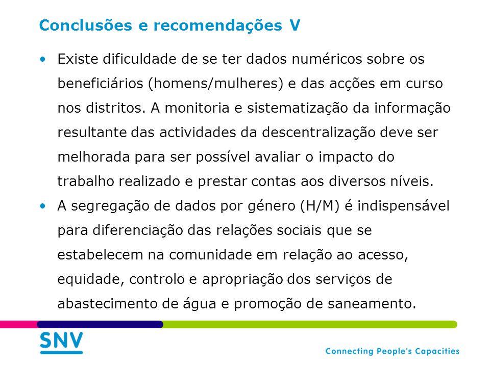 Conclusões e recomendações V Existe dificuldade de se ter dados numéricos sobre os beneficiários (homens/mulheres) e das acções em curso nos distritos.