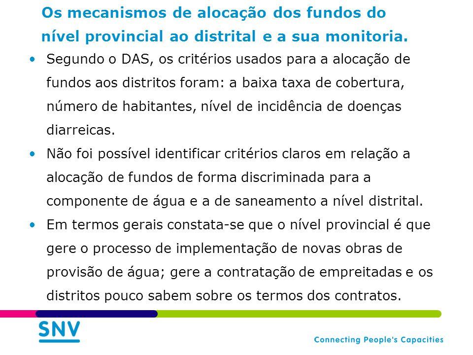 Os mecanismos de alocação dos fundos do nível provincial ao distrital e a sua monitoria. Segundo o DAS, os critérios usados para a alocação de fundos