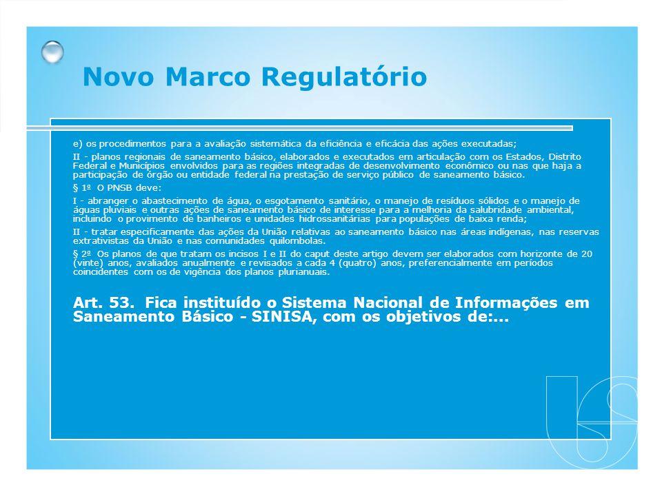 e) os procedimentos para a avaliação sistemática da eficiência e eficácia das ações executadas; II - planos regionais de saneamento básico, elaborados