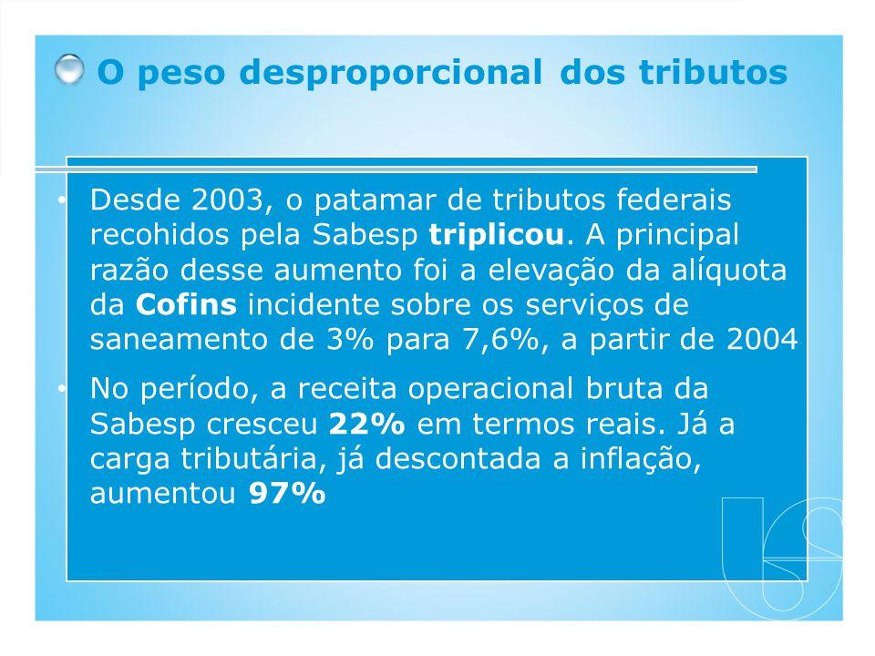 Desde 2003, o patamar de tributos federais recohidos pela Sabesp triplicou. A principal razão desse aumento foi a elevação da alíquota da Cofins incid