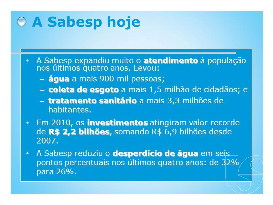 atendimento A Sabesp expandiu muito o atendimento à população nos últimos quatro anos. Levou: – água – água a mais 900 mil pessoas; – coleta de esgoto
