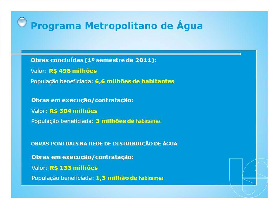 Obras concluídas (1º semestre de 2011): Valor: R$ 498 milhões População beneficiada: 6,6 milhões de habitantes Obras em execução/contratação: Valor: R