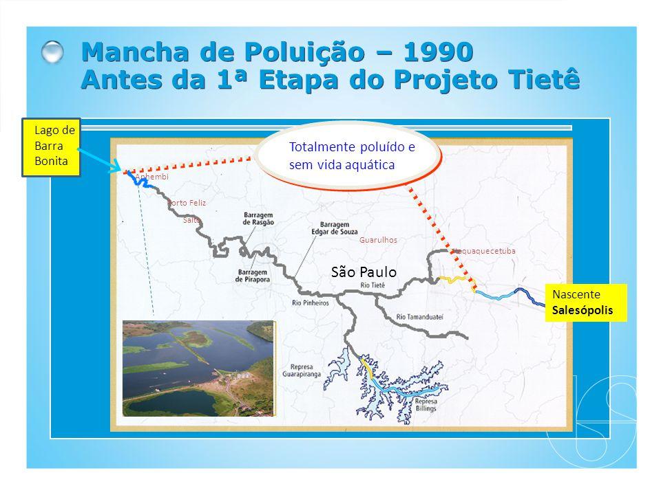 Mancha de Poluição – 1990 Antes da 1ª Etapa do Projeto Tietê Nascente Salesópolis São Paulo SP - Capital Porto Feliz Guarulhos Itaquaquecetuba Totalme