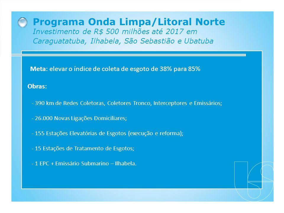 Programa Onda Limpa/Litoral Norte Investimento de R$ 500 milhões até 2017 em Caraguatatuba, Ilhabela, São Sebastião e Ubatuba Obras: - 390 km de Redes