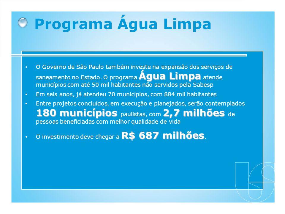 Água Limpa O Governo de São Paulo também investe na expansão dos serviços de saneamento no Estado. O programa Água Limpa atende municípios com até 50