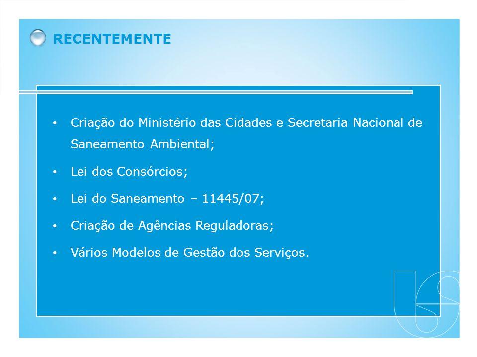 Criação do Ministério das Cidades e Secretaria Nacional de Saneamento Ambiental; Lei dos Consórcios; Lei do Saneamento – 11445/07; Criação de Agências