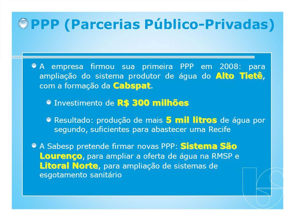 PPP (Parcerias Público-Privadas) Alto Tietê Cabspat A empresa firmou sua primeira PPP em 2008: para ampliação do sistema produtor de água do Alto Tiet