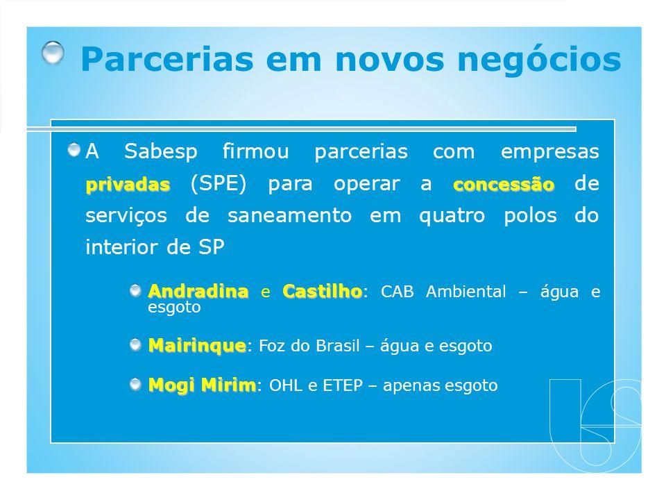 privadasconcessão A Sabesp firmou parcerias com empresas privadas (SPE) para operar a concessão de serviços de saneamento em quatro polos do interior