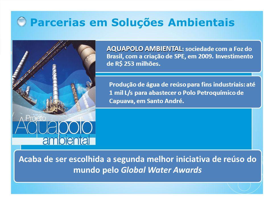 Parcerias em Soluções Ambientais AQUAPOLO AMBIENTAL AQUAPOLO AMBIENTAL : sociedade com a Foz do Brasil, com a criação de SPE, em 2009. Investimento de