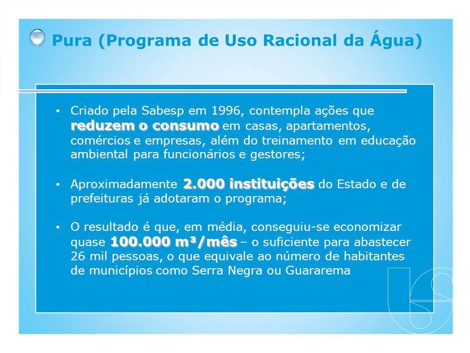 Pura (Programa de Uso Racional da Água) reduzem o consumo Criado pela Sabesp em 1996, contempla ações que reduzem o consumo em casas, apartamentos, co