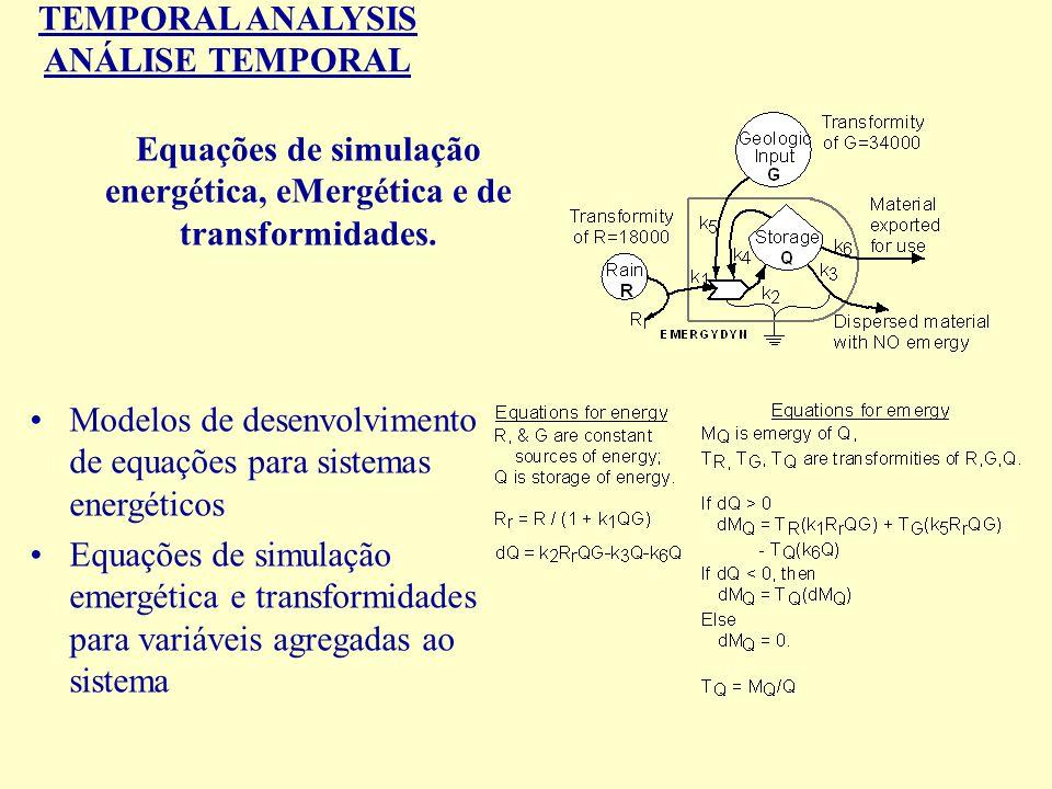 TEMPORAL ANALYSIS ANÁLISE TEMPORAL Equações de simulação energética, eMergética e de transformidades. Modelos de desenvolvimento de equações para sist