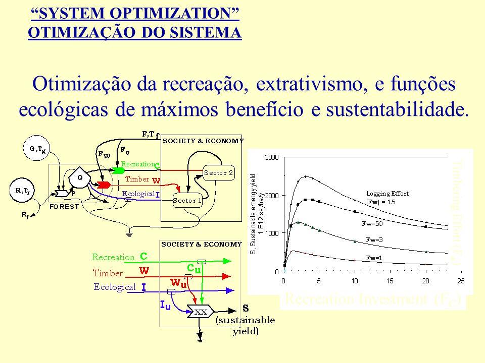 SYSTEM OPTIMIZATION OTIMIZAÇÃO DO SISTEMA Otimização da recreação, extrativismo, e funções ecológicas de máximos benefício e sustentabilidade. Recreat