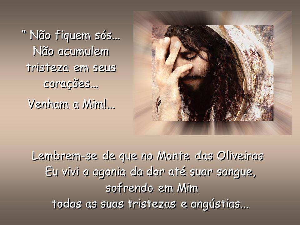 Lembrem-se de que no Monte das Oliveiras Eu vivi a agonia da dor até suar sangue, sofrendo em Mim todas as suas tristezas e angústias...