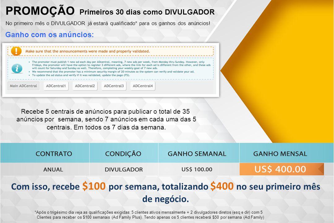 Ganho com os anúncios: PROMOÇÃO Primeiros 30 dias como DIVULGADOR No primeiro mês o DIVULGADOR já estará qualificado* para os ganhos dos anúncios! *Ap