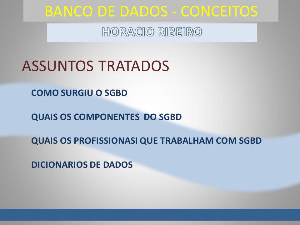 BANCO DE DADOS - CONCEITOS COMO SURGIU O SGBD QUAIS OS COMPONENTES DO SGBD QUAIS OS PROFISSIONASI QUE TRABALHAM COM SGBD DICIONARIOS DE DADOS ASSUNTOS