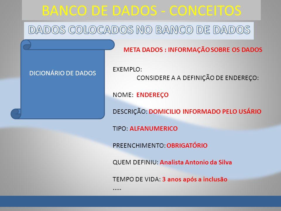 BANCO DE DADOS - CONCEITOS DICIONÁRIO DE DADOS META DADOS : INFORMAÇÃO SOBRE OS DADOS EXEMPLO: CONSIDERE A A DEFINIÇÃO DE ENDEREÇO: NOME: ENDEREÇO DES