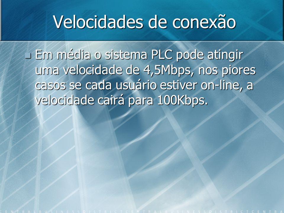 Velocidades de conexão Em média o sistema PLC pode atingir uma velocidade de 4,5Mbps, nos piores casos se cada usuário estiver on-line, a velocidade cairá para 100Kbps.
