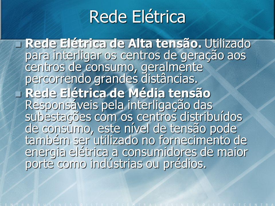 Rede Elétrica Rede Elétrica de Alta tensão. Utilizado para interligar os centros de geração aos centros de consumo, geralmente percorrendo grandes dis