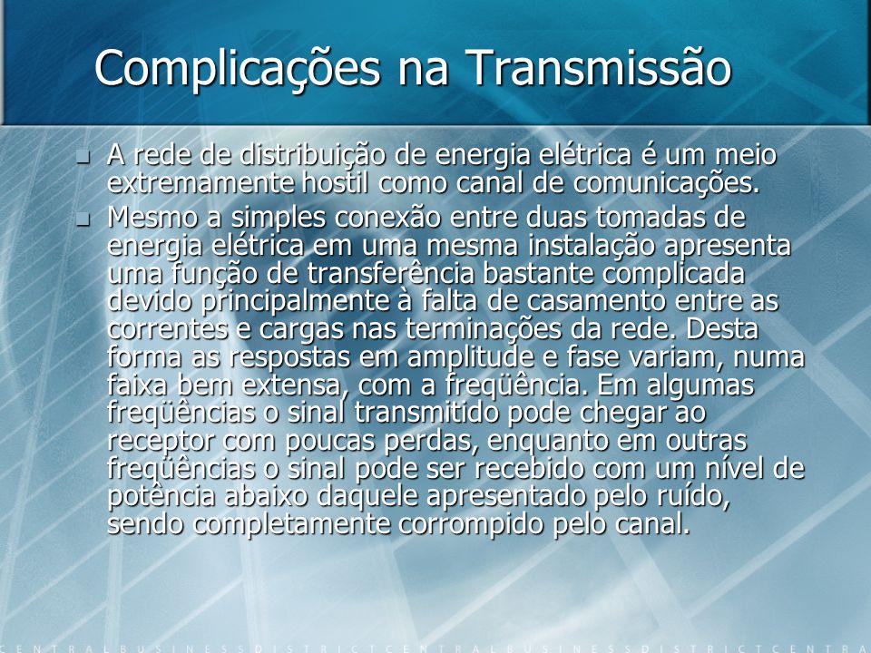 Complicações na Transmissão A rede de distribuição de energia elétrica é um meio extremamente hostil como canal de comunicações.
