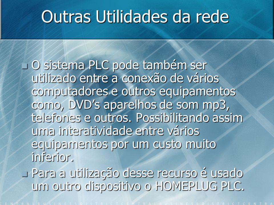 Outras Utilidades da rede O sistema PLC pode também ser utilizado entre a conexão de vários computadores e outros equipamentos como, DVDs aparelhos de som mp3, telefones e outros.