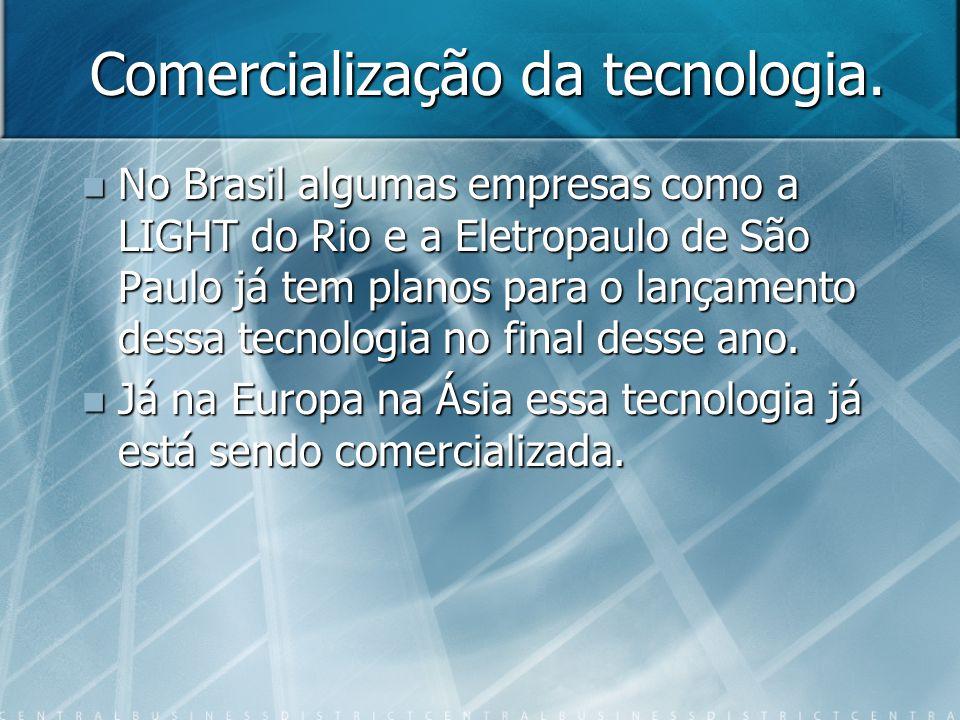 Comercialização da tecnologia. No Brasil algumas empresas como a LIGHT do Rio e a Eletropaulo de São Paulo já tem planos para o lançamento dessa tecno