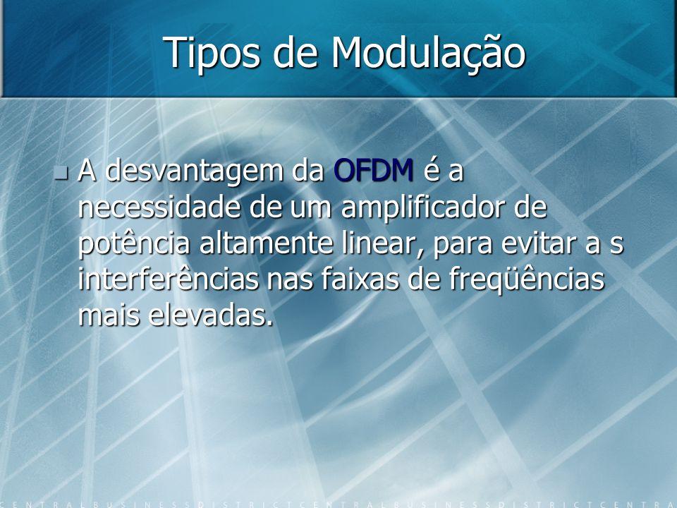 Tipos de Modulação A desvantagem da OFDM é a necessidade de um amplificador de potência altamente linear, para evitar a s interferências nas faixas de freqüências mais elevadas.