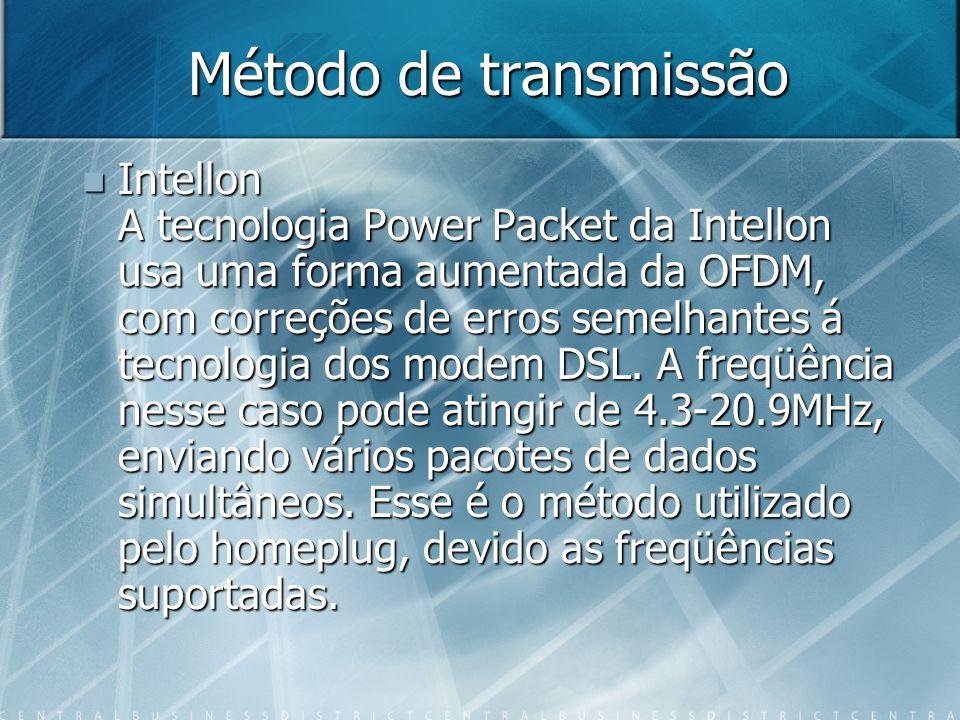 Método de transmissão Intellon A tecnologia Power Packet da Intellon usa uma forma aumentada da OFDM, com correções de erros semelhantes á tecnologia dos modem DSL.