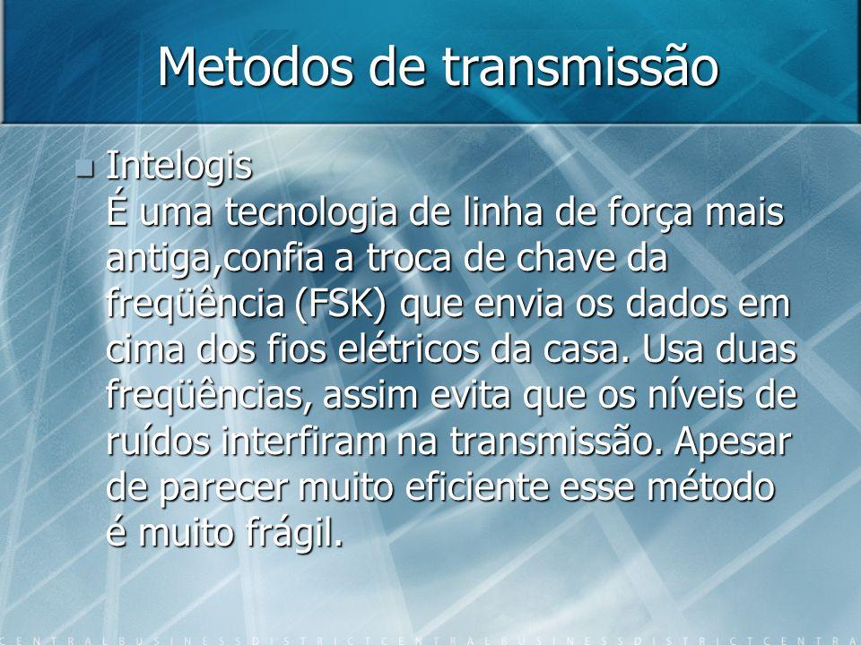 Metodos de transmissão Intelogis É uma tecnologia de linha de força mais antiga,confia a troca de chave da freqüência (FSK) que envia os dados em cima dos fios elétricos da casa.