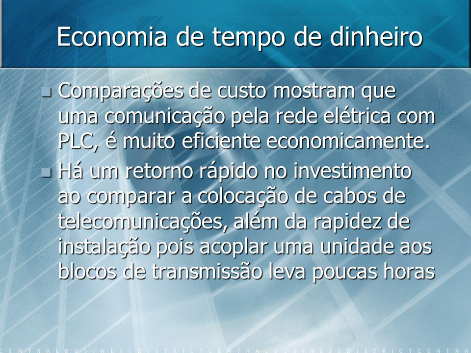 Economia de tempo de dinheiro Comparações de custo mostram que uma comunicação pela rede elétrica com PLC, é muito eficiente economicamente.