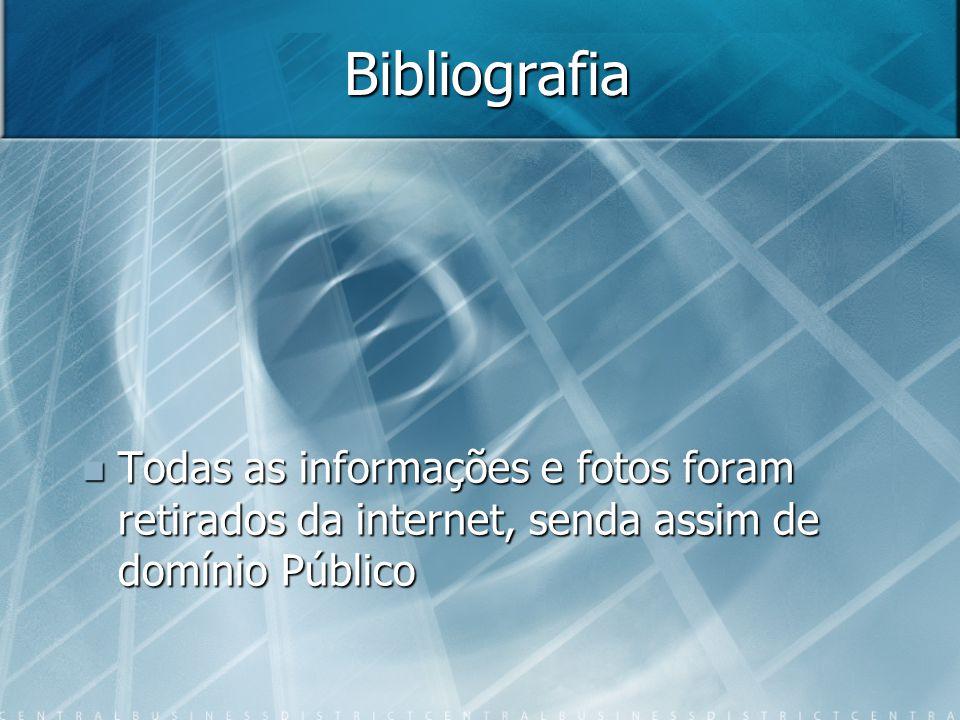 Bibliografia Todas as informações e fotos foram retirados da internet, senda assim de domínio Público Todas as informações e fotos foram retirados da internet, senda assim de domínio Público