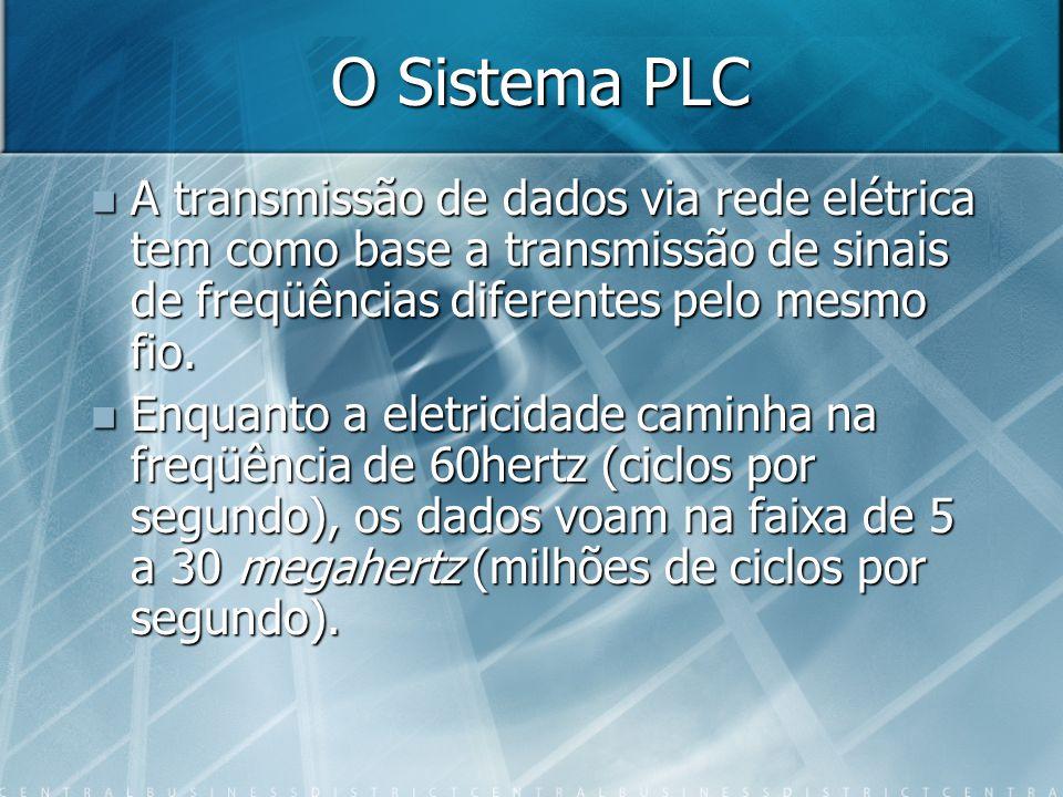 O Sistema PLC A transmissão de dados via rede elétrica tem como base a transmissão de sinais de freqüências diferentes pelo mesmo fio. A transmissão d