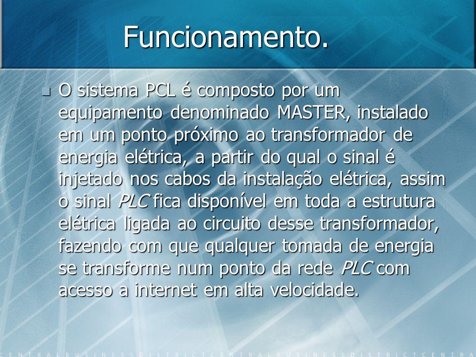 Funcionamento. O sistema PCL é composto por um equipamento denominado MASTER, instalado em um ponto próximo ao transformador de energia elétrica, a pa