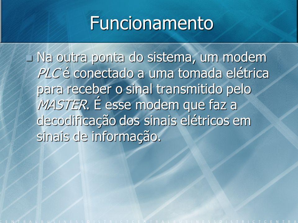 Funcionamento Na outra ponta do sistema, um modem PLC é conectado a uma tomada elétrica para receber o sinal transmitido pelo MASTER. É esse modem que