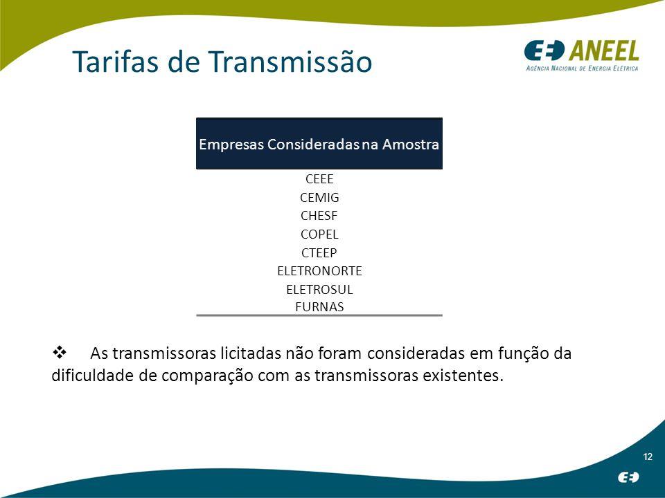 12 Tarifas de Transmissão As transmissoras licitadas não foram consideradas em função da dificuldade de comparação com as transmissoras existentes.