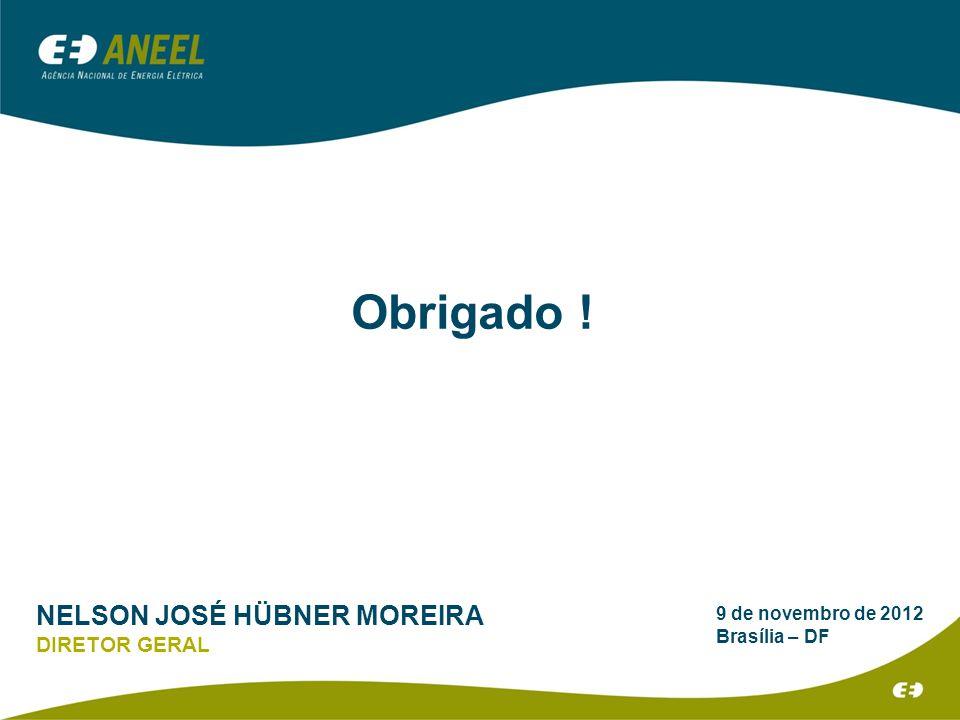9 de novembro de 2012 Brasília – DF Obrigado ! NELSON JOSÉ HÜBNER MOREIRA DIRETOR GERAL