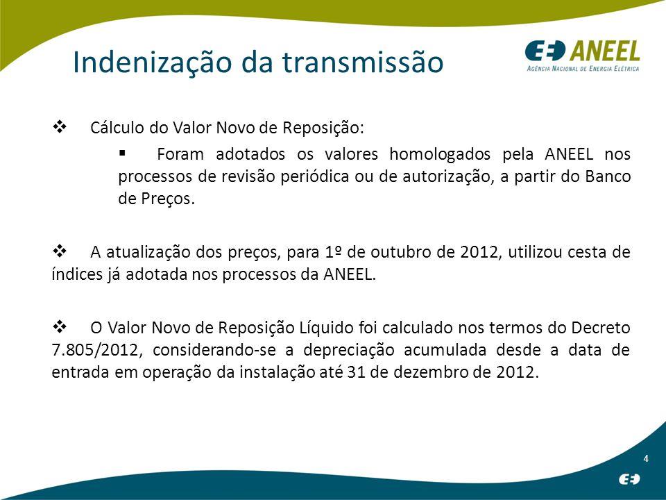 4 Indenização da transmissão Cálculo do Valor Novo de Reposição: Foram adotados os valores homologados pela ANEEL nos processos de revisão periódica ou de autorização, a partir do Banco de Preços.