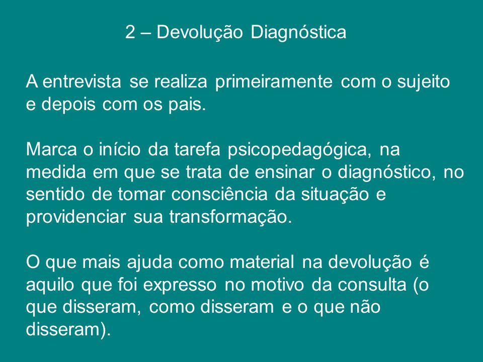 2 – Devolução Diagnóstica A entrevista se realiza primeiramente com o sujeito e depois com os pais. Marca o início da tarefa psicopedagógica, na medid