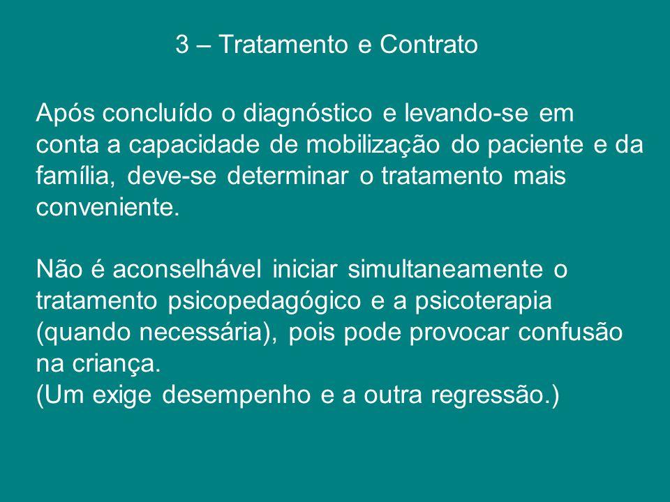 3 – Tratamento e Contrato Após concluído o diagnóstico e levando-se em conta a capacidade de mobilização do paciente e da família, deve-se determinar
