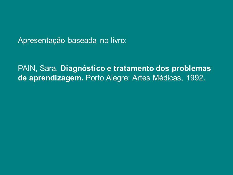 Apresentação baseada no livro: PAIN, Sara. Diagnóstico e tratamento dos problemas de aprendizagem. Porto Alegre: Artes Médicas, 1992.