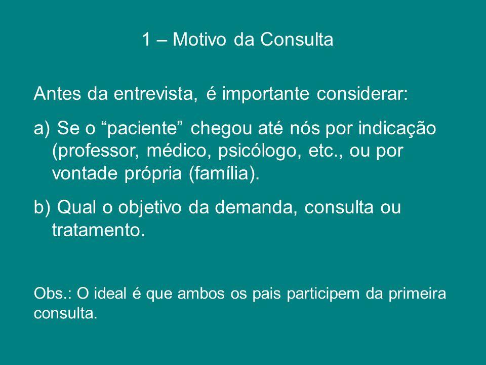 1 – Motivo da Consulta Antes da entrevista, é importante considerar: a) Se o paciente chegou até nós por indicação (professor, médico, psicólogo, etc.