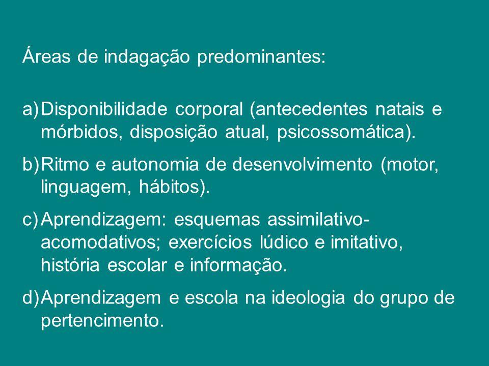 Áreas de indagação predominantes: a)Disponibilidade corporal (antecedentes natais e mórbidos, disposição atual, psicossomática). b)Ritmo e autonomia d