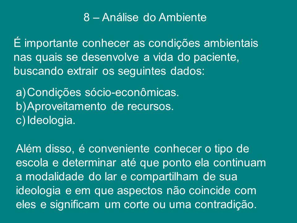 8 – Análise do Ambiente a)Condições sócio-econômicas. b)Aproveitamento de recursos. c)Ideologia. É importante conhecer as condições ambientais nas qua