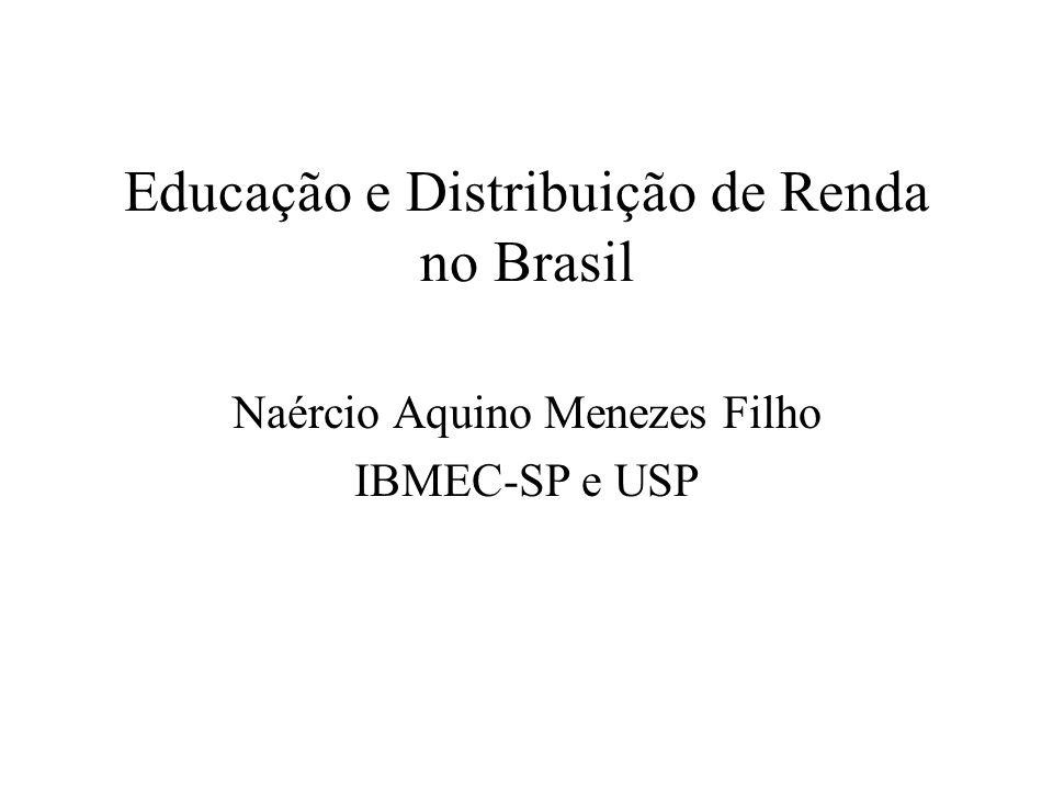 Educação e Distribuição de Renda no Brasil Naércio Aquino Menezes Filho IBMEC-SP e USP