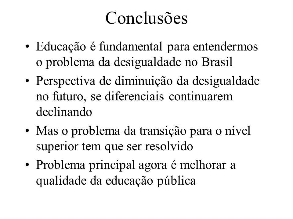 Conclusões Educação é fundamental para entendermos o problema da desigualdade no Brasil Perspectiva de diminuição da desigualdade no futuro, se diferenciais continuarem declinando Mas o problema da transição para o nível superior tem que ser resolvido Problema principal agora é melhorar a qualidade da educação pública